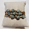 Lou & Co Gold Stretch Bracelet with Grey Beads