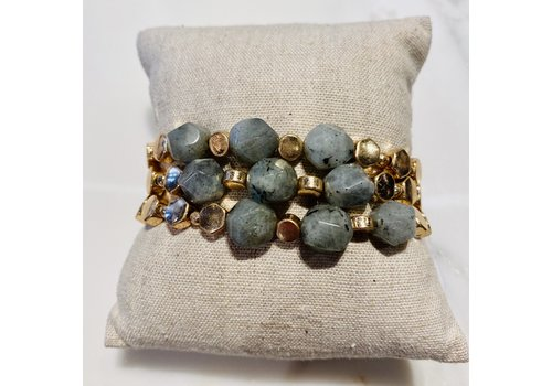 Lou & Co Gold Stretch Bracelet with Grey Beads