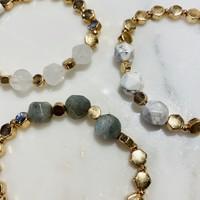 Gold Stretch Bracelet with Grey Beads
