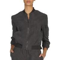 Black/Grey Suede Bomber Jacket