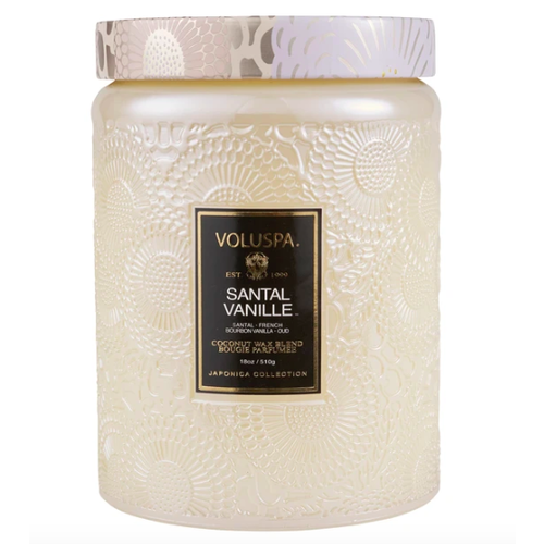 Santal Vanille Large Embossed Glass Candle w/Lid