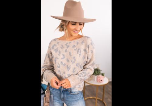 Wishlist Taupe Combo Leopard Sweater