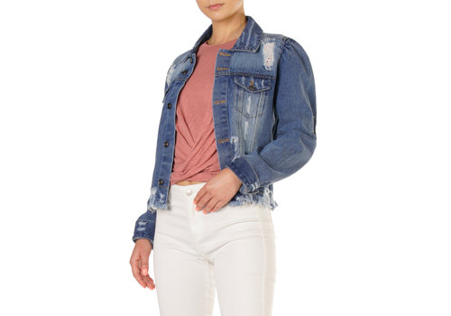 Blue Denim Jacket with Puff Sleeve