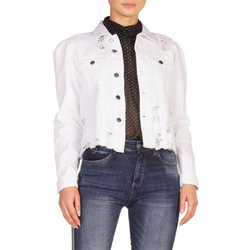 White Denim Jacket with Puff Sleeve