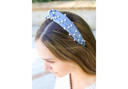 Audrey Denim Headband with Pearls