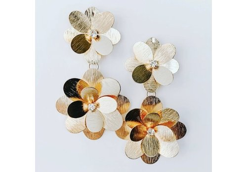 Lou & Co Long Gold Flower Earrings