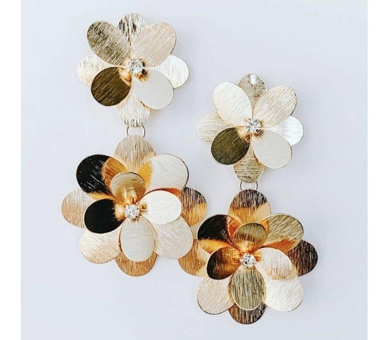 Long Gold Flower Earrings