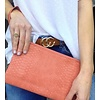 Coral Tina Python Zip Around Wristlet