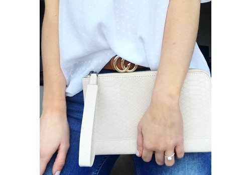Pale Pink Tina Python Zip Around Wristlet