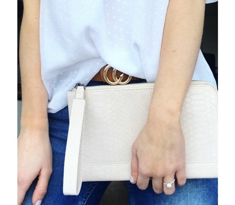 Pale Pink Tina Python Zip Around Wristlet