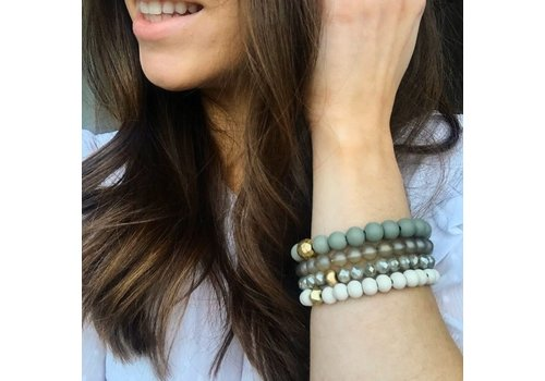4 Row Bead Ball Bracelet-Gray/Ivory