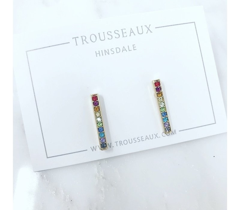 Rainbow Bar Stud Earrings