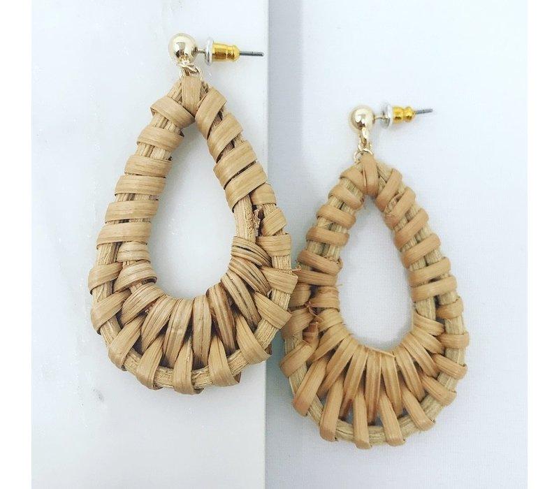 Rattan Woven Teardrop Earrings