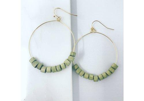 Olive Wood Bead Circle Earrings