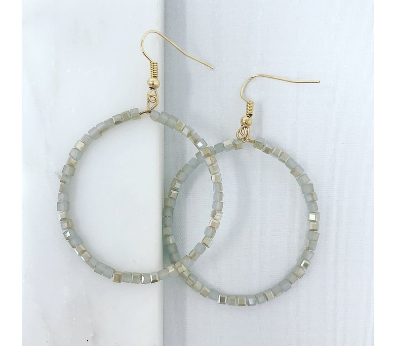 Small Glass Bead and Circle Earring-Gray