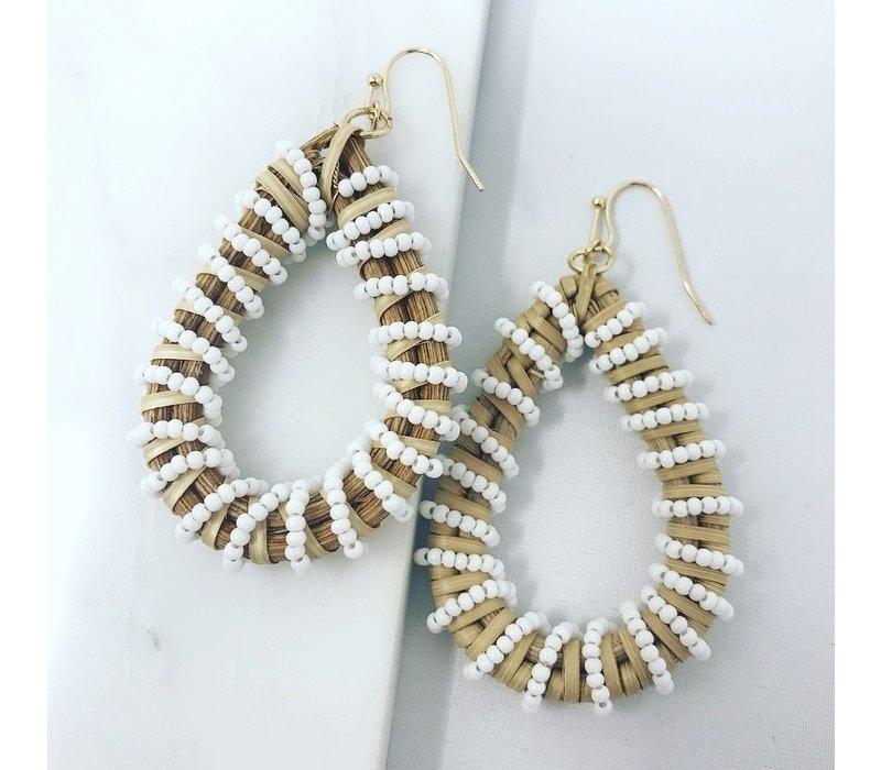 White Bead Wrapped Rattan Teardrop Earring