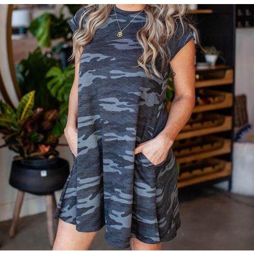 Black Grey Camo Swing Dress