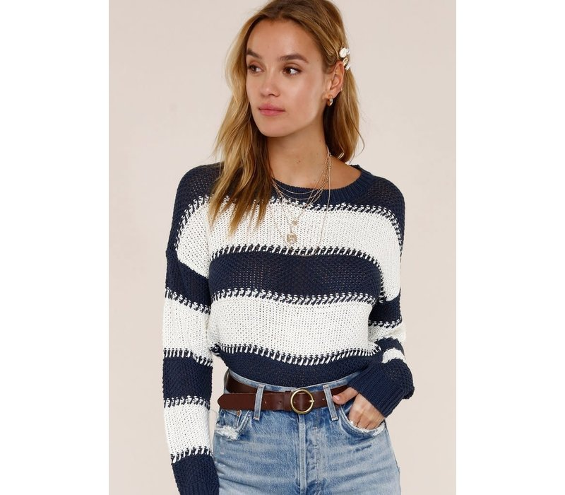 Mindy Sweater- Indigo and White