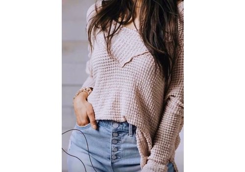 Long Sleeve Off The Shoulder Top- Blush