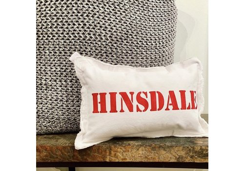 12 X 18 HINSDALE Natural Pillow Stencil Stone (Image displays text in red, however this pillow has stone gray text)