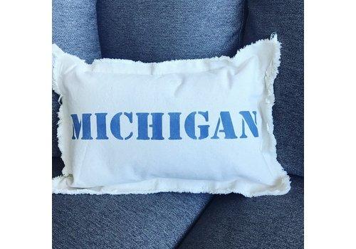 12 X 18 MICHIGAN Upper Case. Natural Pillow Royal Blue Font