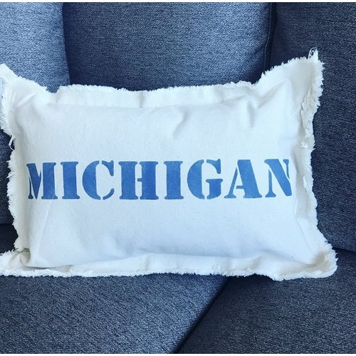 12 X 18 MICHIGAN Upper Case. Natural Pillow Royal Blue Font