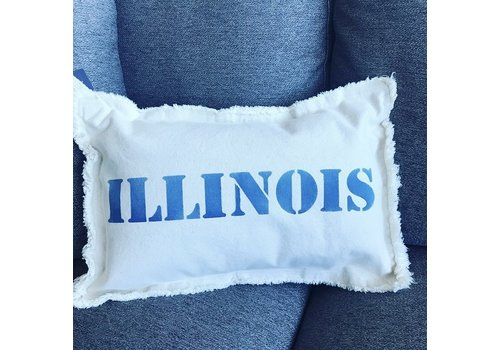 12 X 18 ILLINOIS Upper Case. Natural Pillow Royal Blue Font