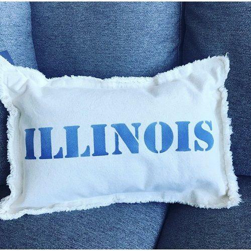 12 X 18 ILLINOIS Upper Case. Natural Pillow Royal Blue Font