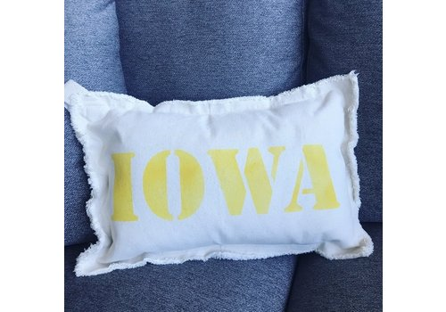 12 X 18 IOWA Upper Case. Natural Pillow Canary Font