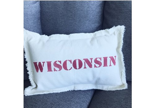 12 X 18 WISCONSIN Upper Case. Natural Pillow Candi Red Font