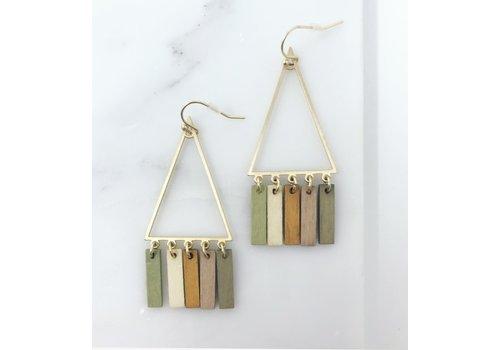 Triangle & Wood Multi Color Bar Earrings
