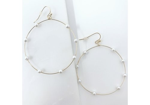 Multi Pearl Large Circle Gold Hoops