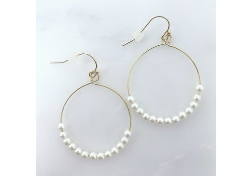 Wire Gold Hoop & Tiny White Bead Earrings