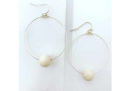 Wood Ball Ivory/Gold Circle Earrings