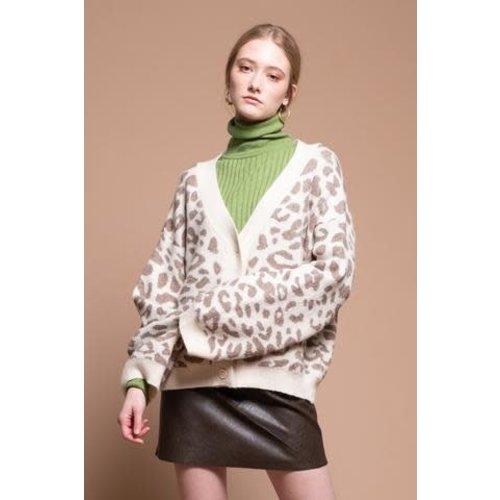 Button Front V-neck Cardigan Leopard