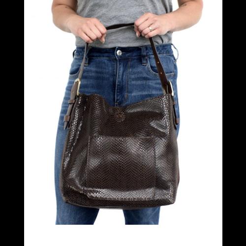 Python Sara Bucket Bag- Chocolate