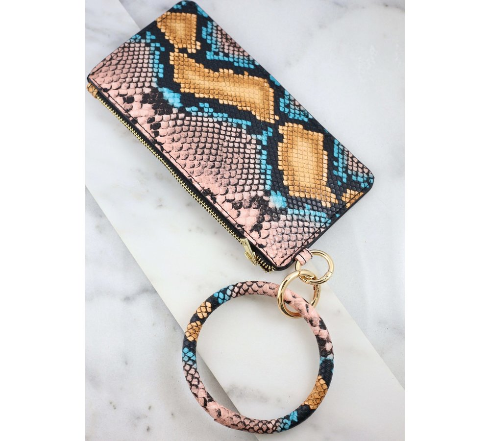 Orange Snake Print Bracelet Key Chain & Wallet