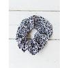Blue Pleated Leopard Print Scrunchie
