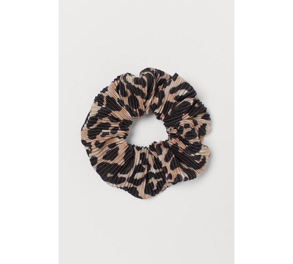 Brown Pleated Leopard Print Scrunchie