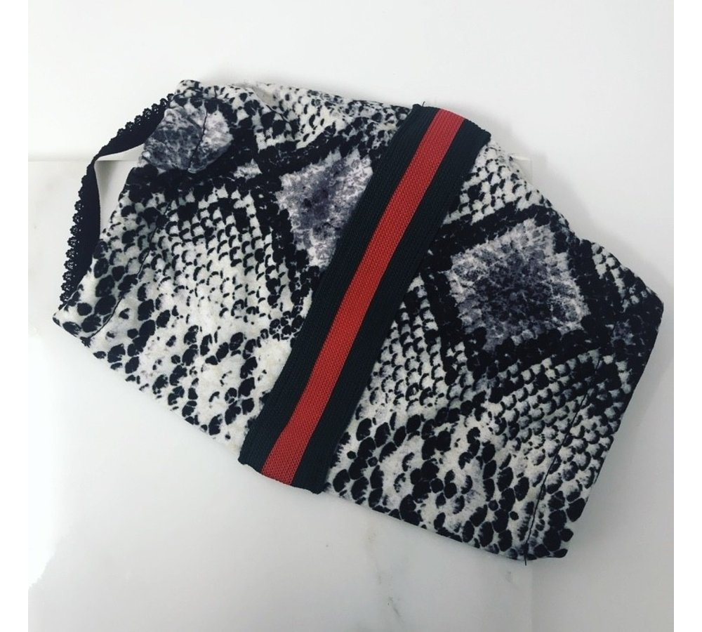 2 Ply Cotton/Lycra Women's Face Mask (Snake with Gucci Stripe)