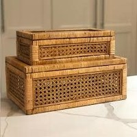 Large Woven Rattan & Wood Display Boxes w/ Glass Lid