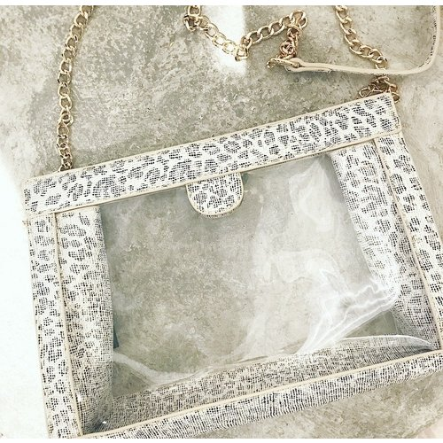 Metallic White Leopard Clear Purse