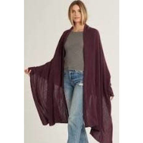 Cashmere and Wool Wrap Burgundy