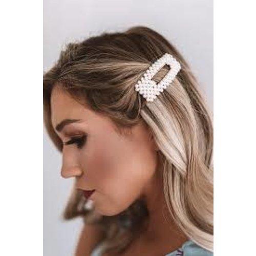 Large Rectangular Pearl Hair Clip