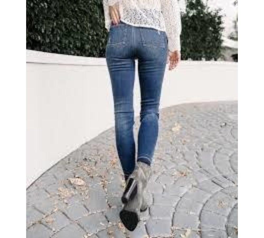 Distressed Skinny Jeans-Med Wash
