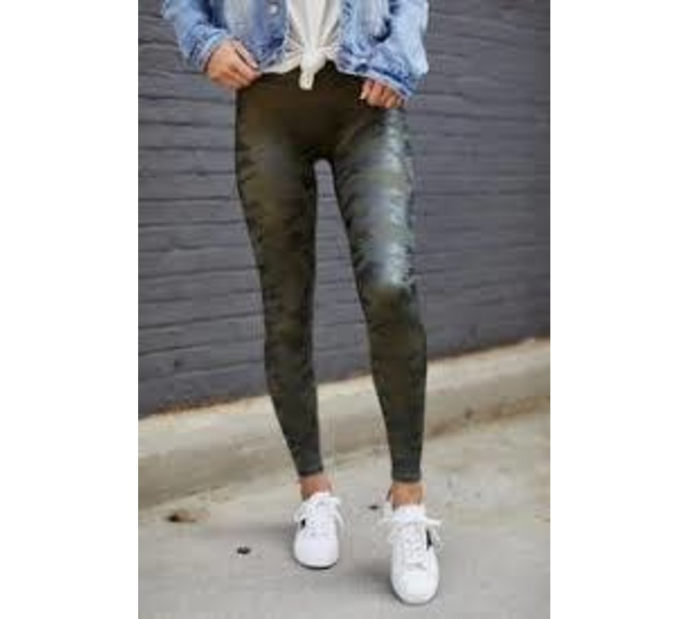 Faux Leather Matte Green Camo Leggings