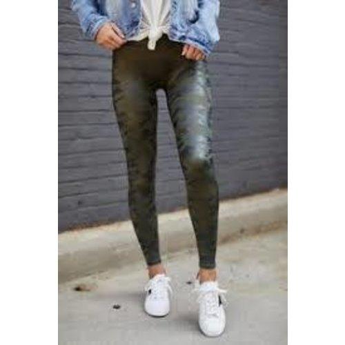 Faux Leather Matte Green Camo Leggings