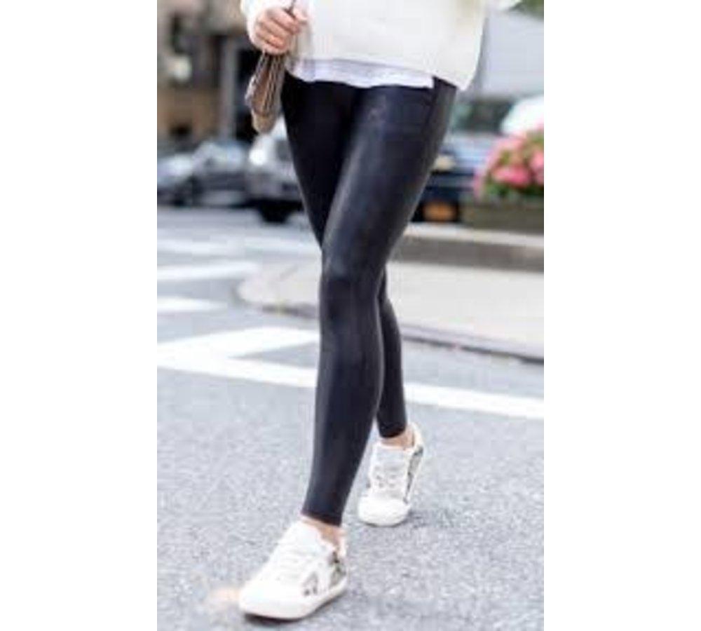 Plain Black Faux Leather Leggings