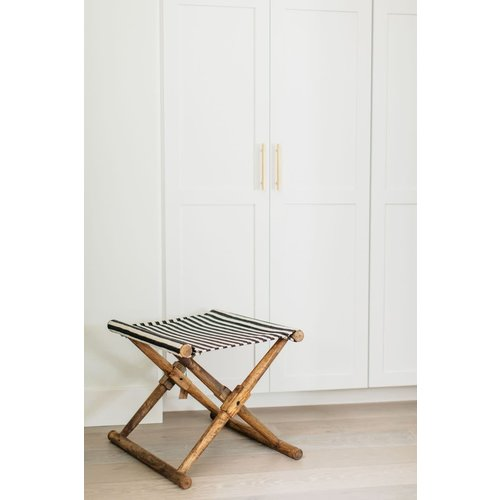 Mango Wood & Cotton Woven Striped Folding Stool-