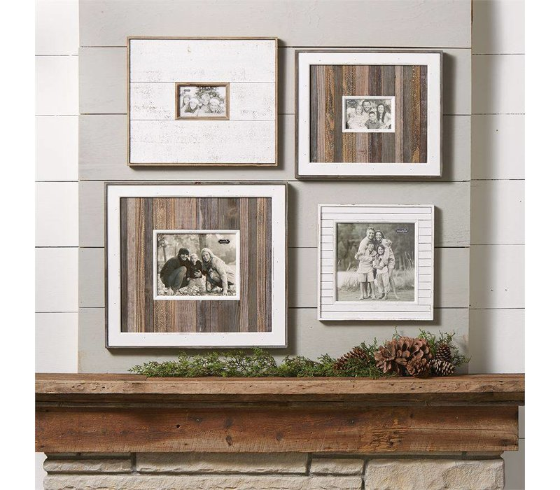 Large White & Natural Distressed Frame